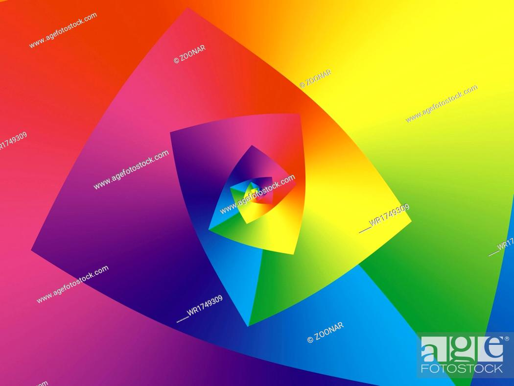 Stock Photo: infinite droste helix in spectral colors.