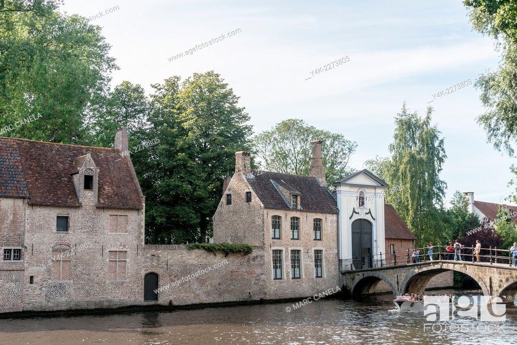 Stock Photo: Minnewater, Bruges, West Flanders, Belgium.
