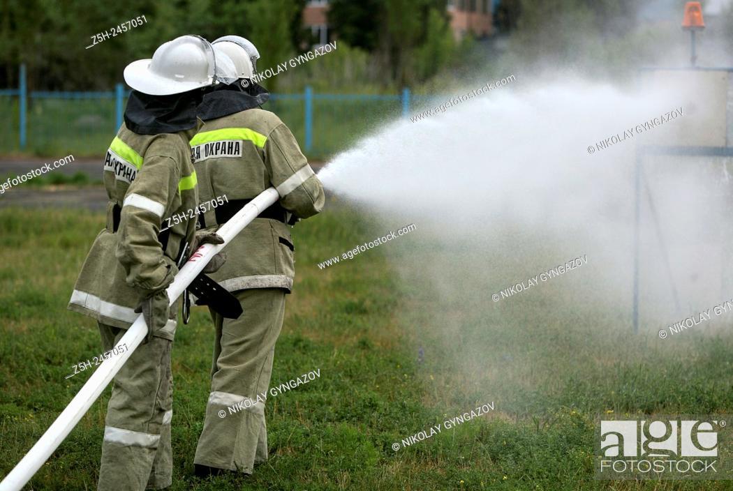 Stock Photo: Russian Federation. Belgorod region. Competitions fire brigades area.