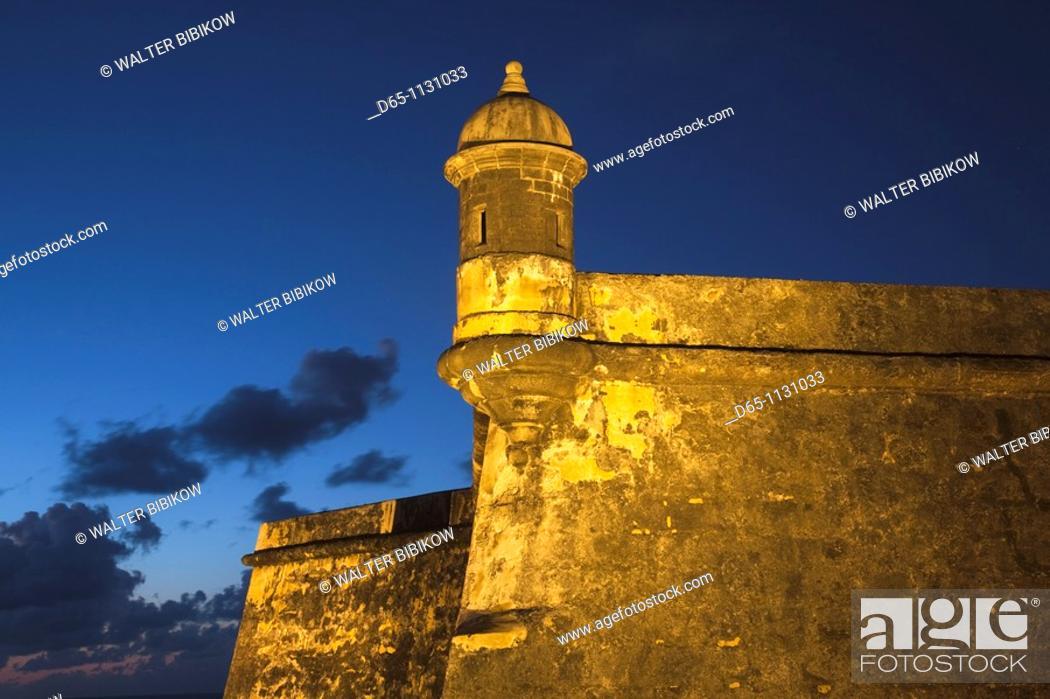 Stock Photo: Puerto Rico, San Juan, Old San Juan, San Felipe del Morro Fort, El Morro, fortress walls and watchtower, dusk.