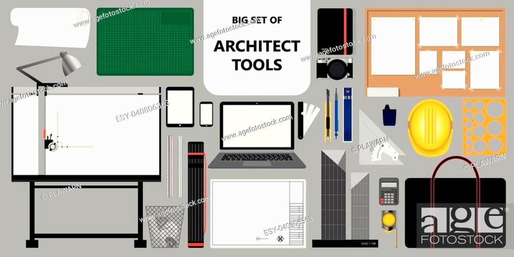 Stock Vector: Big set of isolated architect tools. Working and design stuff. Vector illustration.