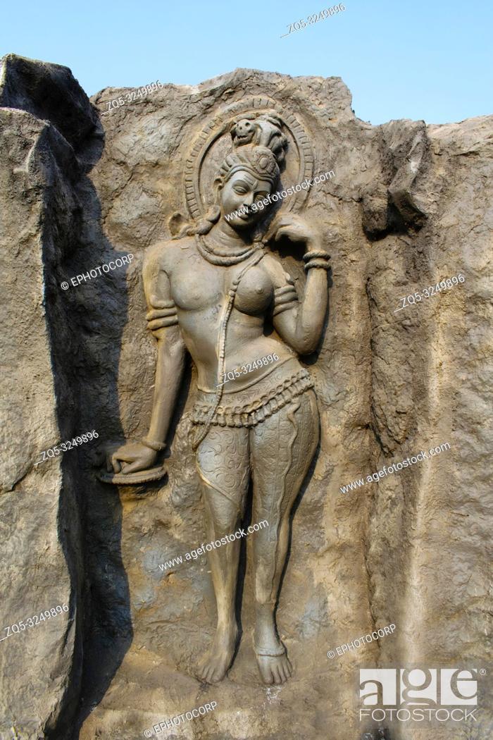 Stock Photo: Ardhanari Nateshwar, Hadshi Temple, Sant Darshan Museum, near tikona Vadgoan Maval, District Pune, Maharashtra, India.
