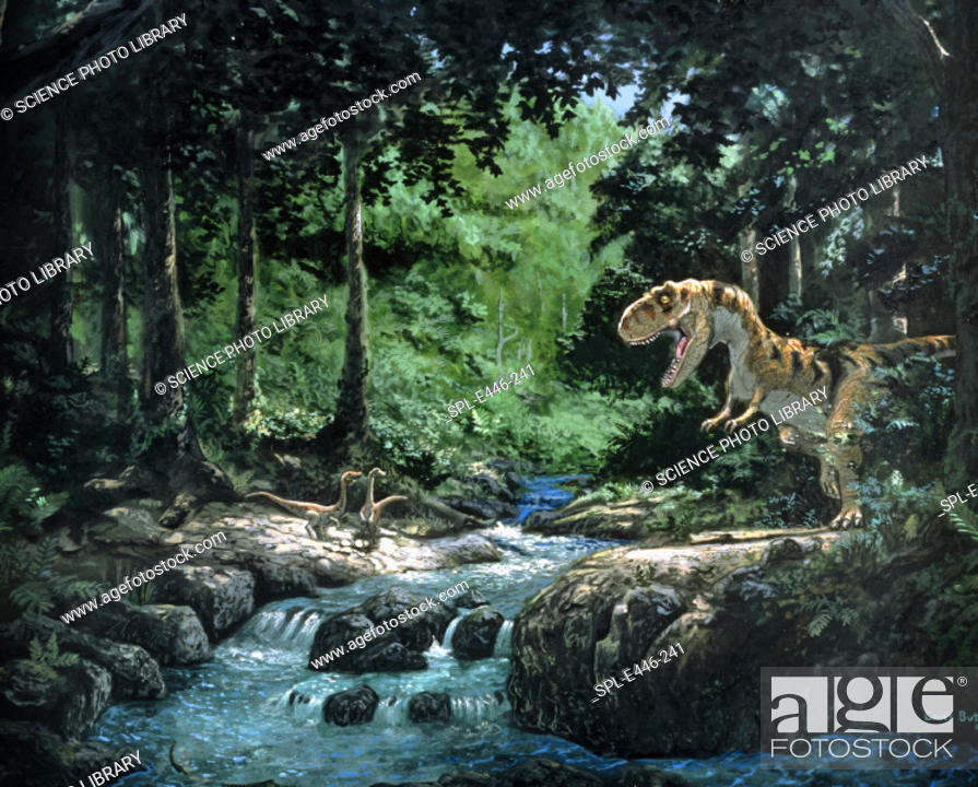 Stock Photo: Tyrannosaurus Rex. Artwork of a Tyrannosaurus rex dinosaur hunting in a forest. Tyrannosaurus (tyrant reptile') was a large carnivore.