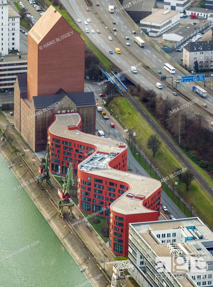 Stock Photo: State Archives of North-Rhine Westphalia, Duisburg, Ruhr area, aerial view.