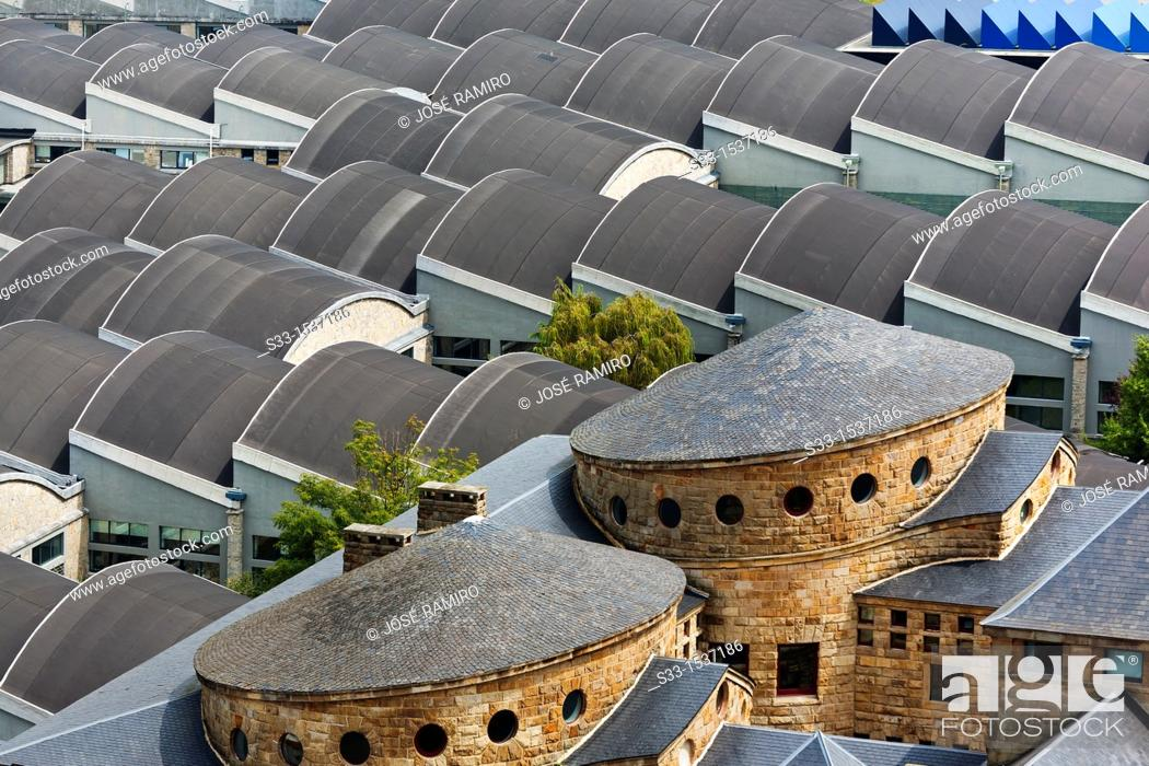Stock Photo: Roofs in the Technical college in Gijón  Asturias  Spain.