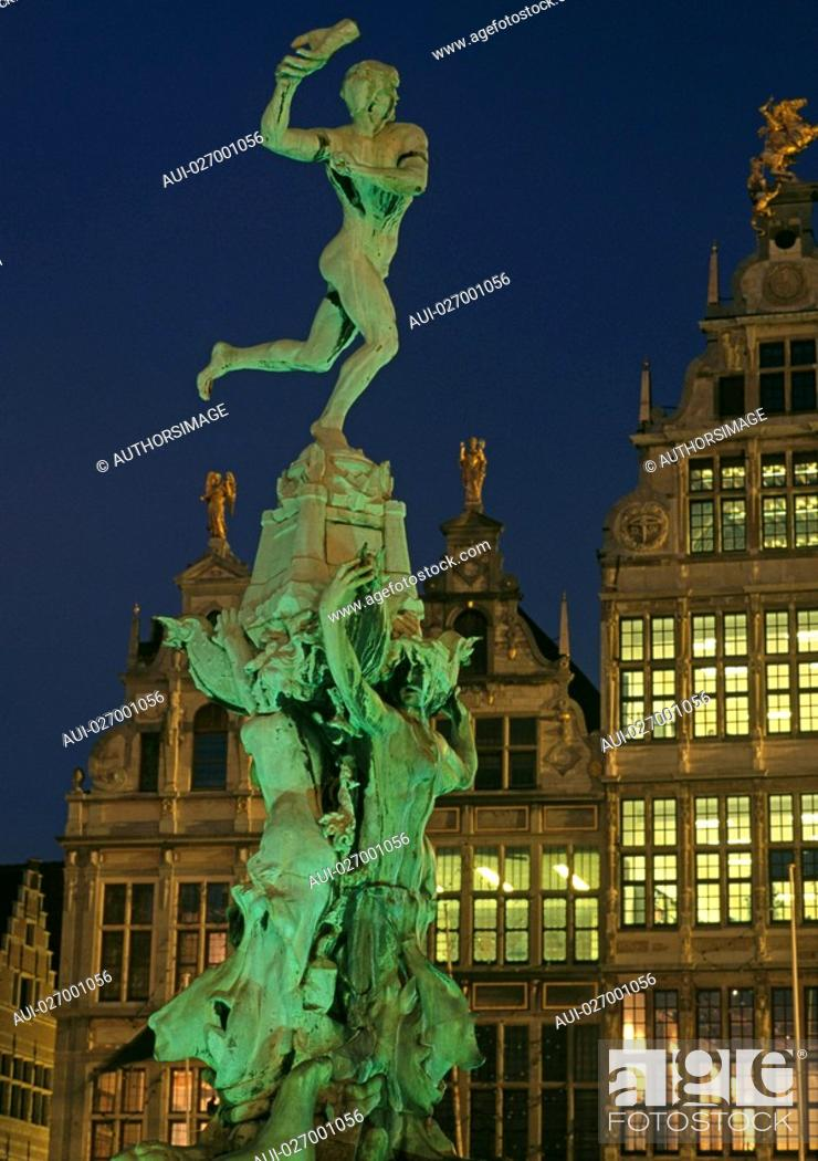 Stock Photo: Belgium - Flanders - Antwerp - Grote Markt, Grand Place - The Stadhuis City Hall and guild houses - Brabo Fountain and statue of Silvius Brabo.