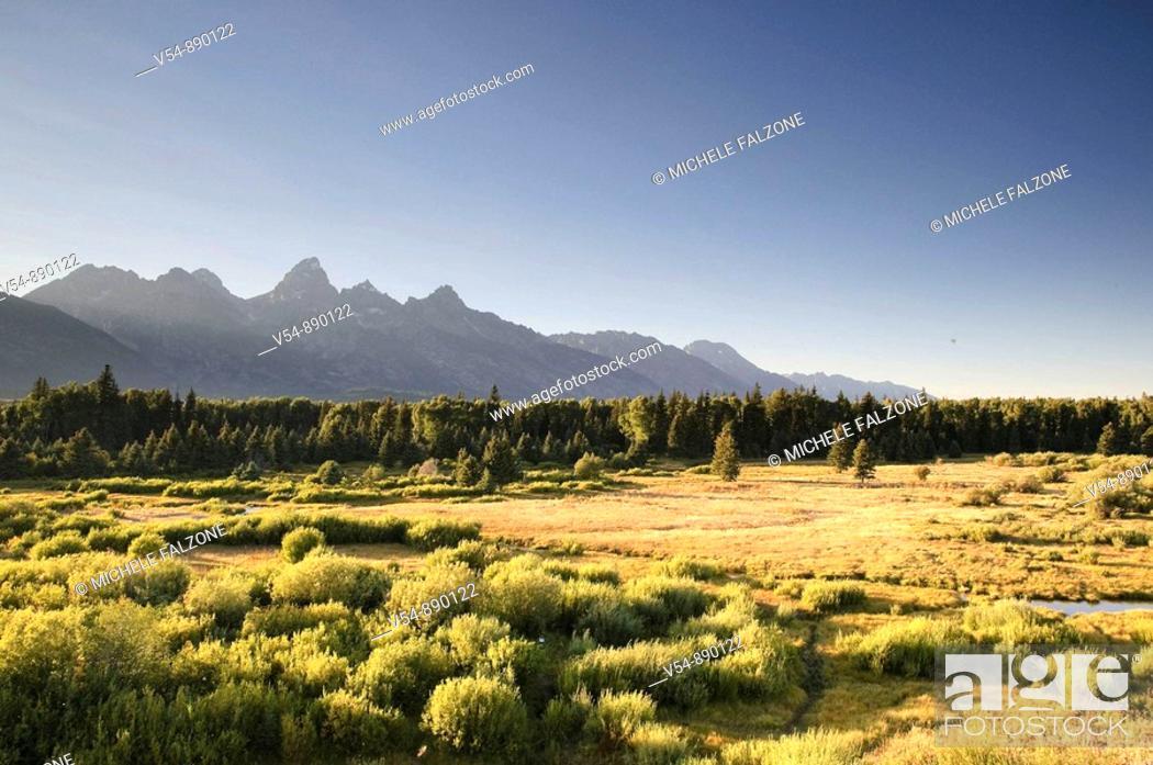 Stock Photo: Teton Mountain Range, Grand Teton National Park, Wyoming, USA.
