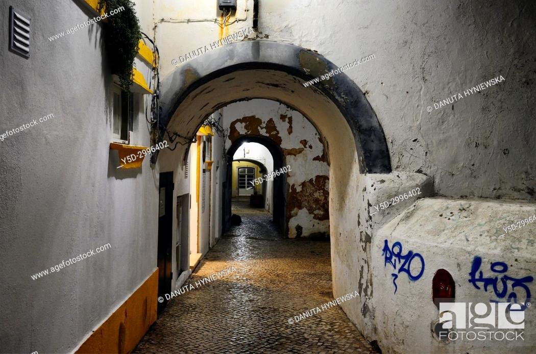 Stock Photo: Rua da Barroca once formed the boundary between the town and the sea, historic part of Lagos, Algarve, Portugal, Europe.