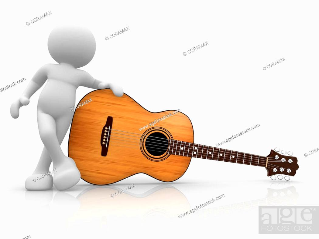 Stock Photo: 3d people - human character, person with acoustic guitar. Guitarist. 3d render illustration.