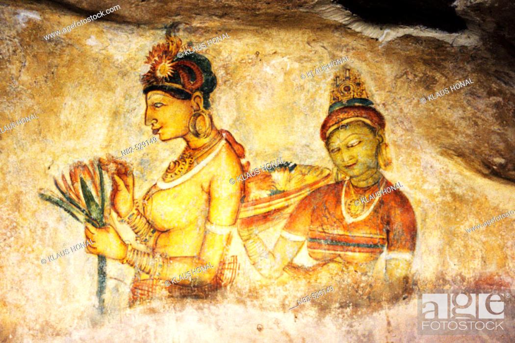 Stock Photo: Frescoes the Sigiriya Damsels - Sigiriya Sri Lanka Fresco girls from Sigiriya.