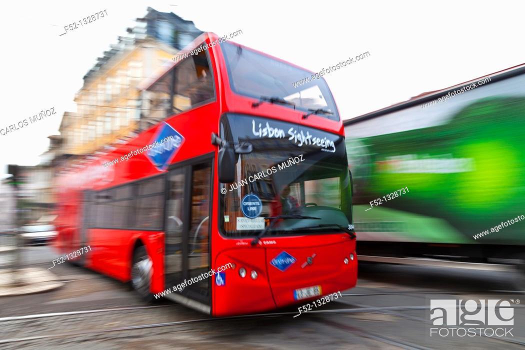 Stock Photo: Sightseeing bus, Chiado district, Lisbon, Portugal.
