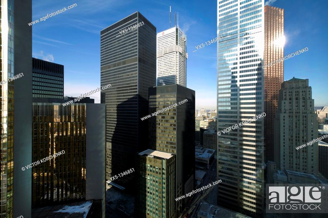 Stock Photo: Toronto downtown Bay Street banking district.