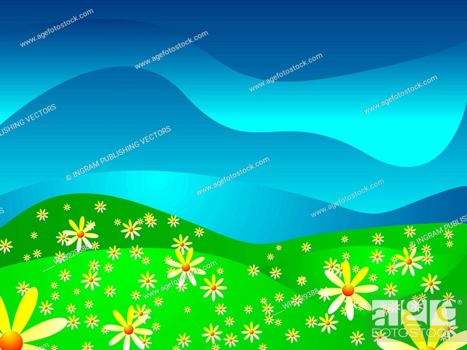 Vector: Abstract look at a summer scene with bright illustrated flowers.