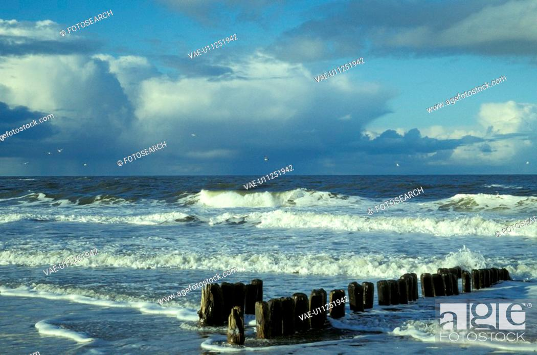 Stock Photo: bad, baltic, Baltic Sea, banks, buhne, cloud, clouded.