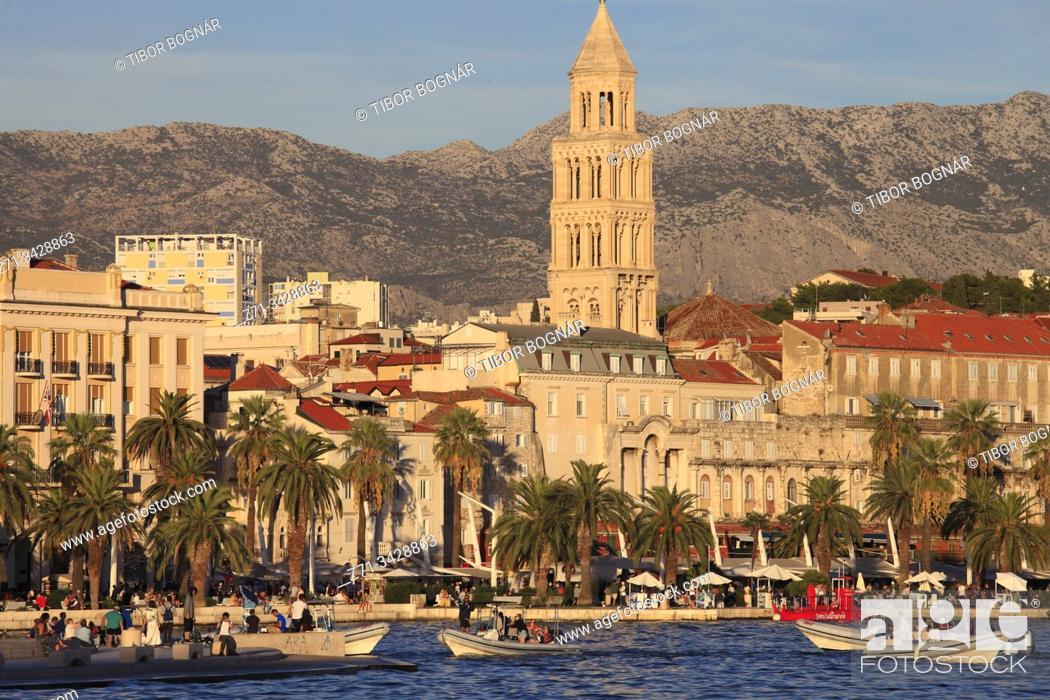 Stock Photo: Croatia, Split, skyline, cathedral, harbor, boats, people.
