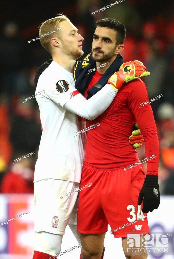 Standard s Goalkeeper Arnaud Bodart And Standard s Konstantinos Kostas Laifis Look Dejected After A Stock Photo Picture And Rights Managed Image Pic VPM Agefotostock