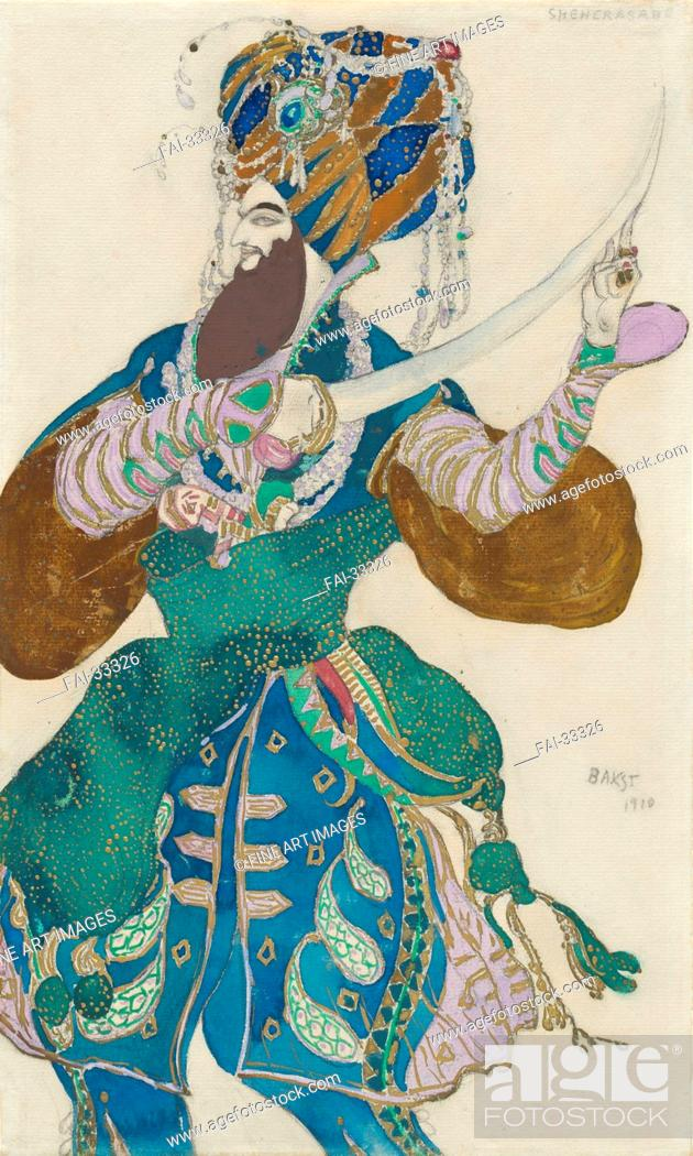 Stock Photo: Costume design for the ballet Scheharazade by N. Rimsky-Korsakov by Bakst, Léon (1866-1924)/Pencil, watercolour and gouache on paper/Theatrical scenic.