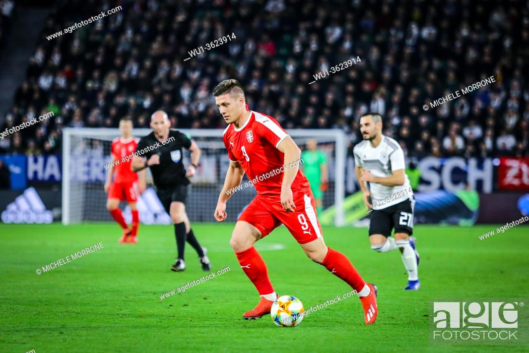 Stock Photo: Wolfsburg, Germany, March 20, 2019: Serbian footballer Luka Jovic in action during the international friendly game Germany vs Serbia at Volkswagen Arena.