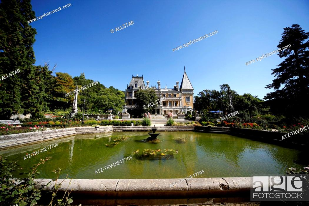 Stock Photo: LILY POND AT MASSANDRA PALACE; YALTA, CRIMEA, UKRAINE; 27/09/2011.