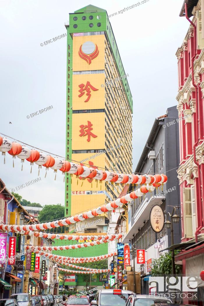 Stock Photo: In the Chinatown section in Singapore.