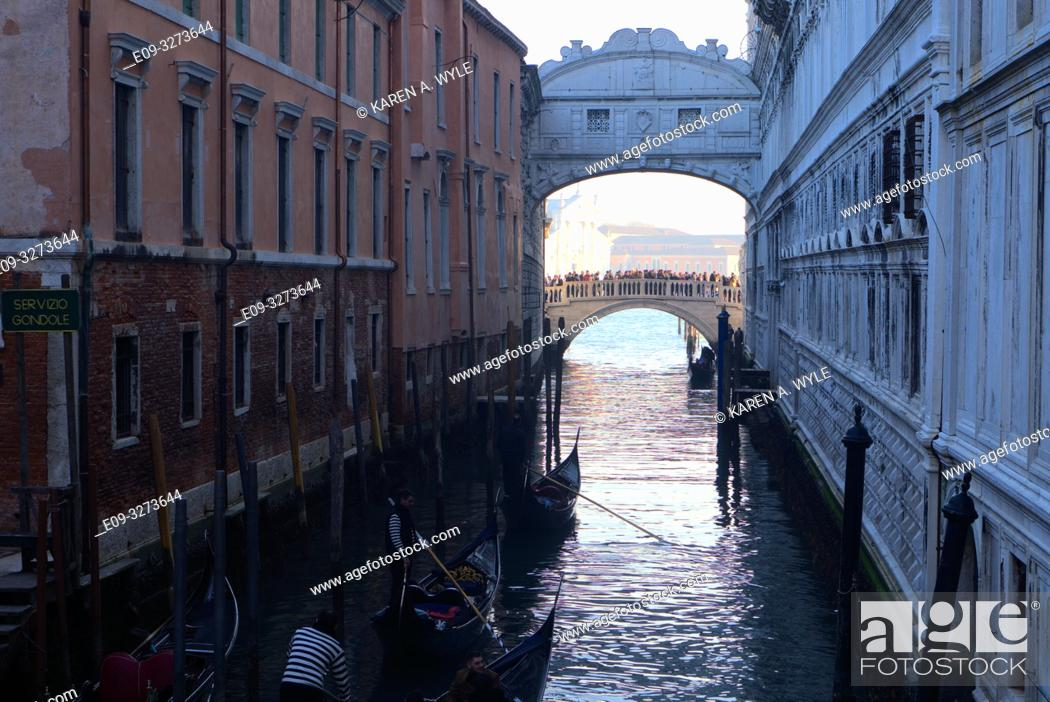 Stock Photo: view of Bridge of Sighs and another bridge beyond, from a bridge on Riva degli Schiavoni not far from Piazza San Marco, Venice, Italy.