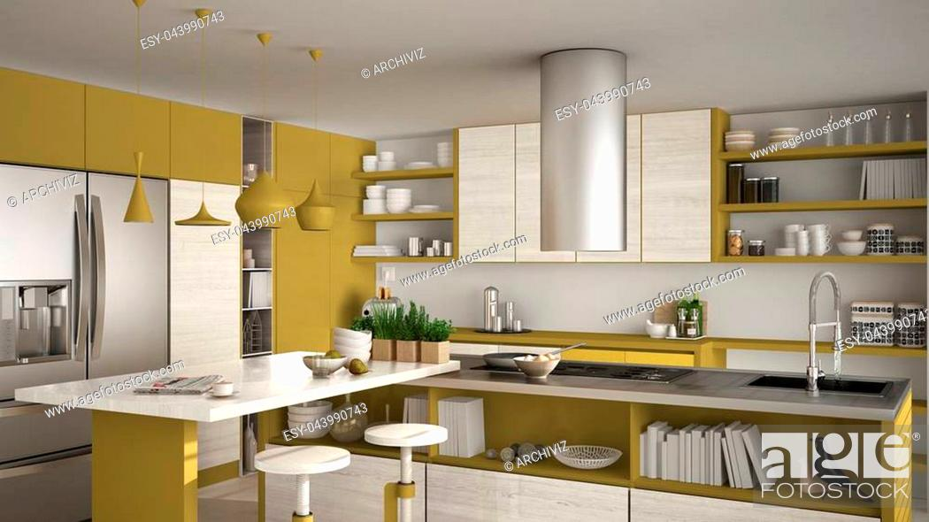 Stock Photo: Modern wooden kitchen with wooden details, close up, island with stools, yellow and white minimalistic interior design.