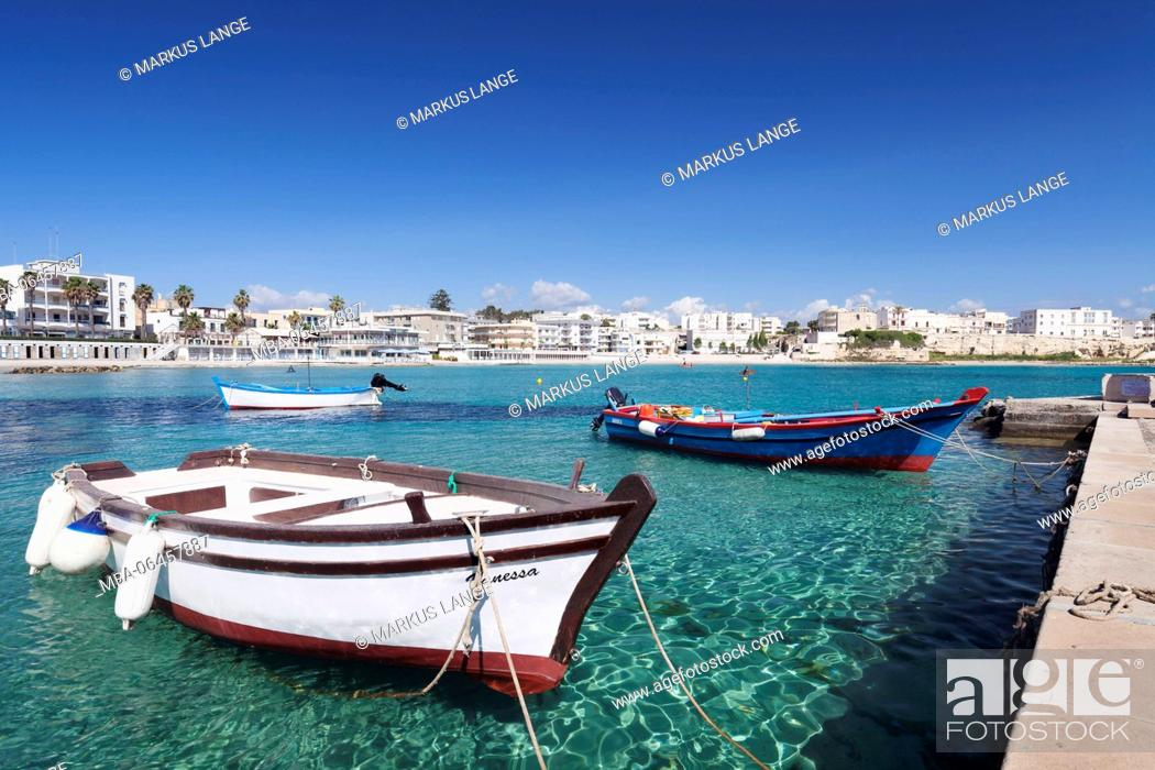 Stock Photo: Fishing boats in the harbour of Otranto, province of Lecce, Peninsula of Salento, Apulia, Italy.