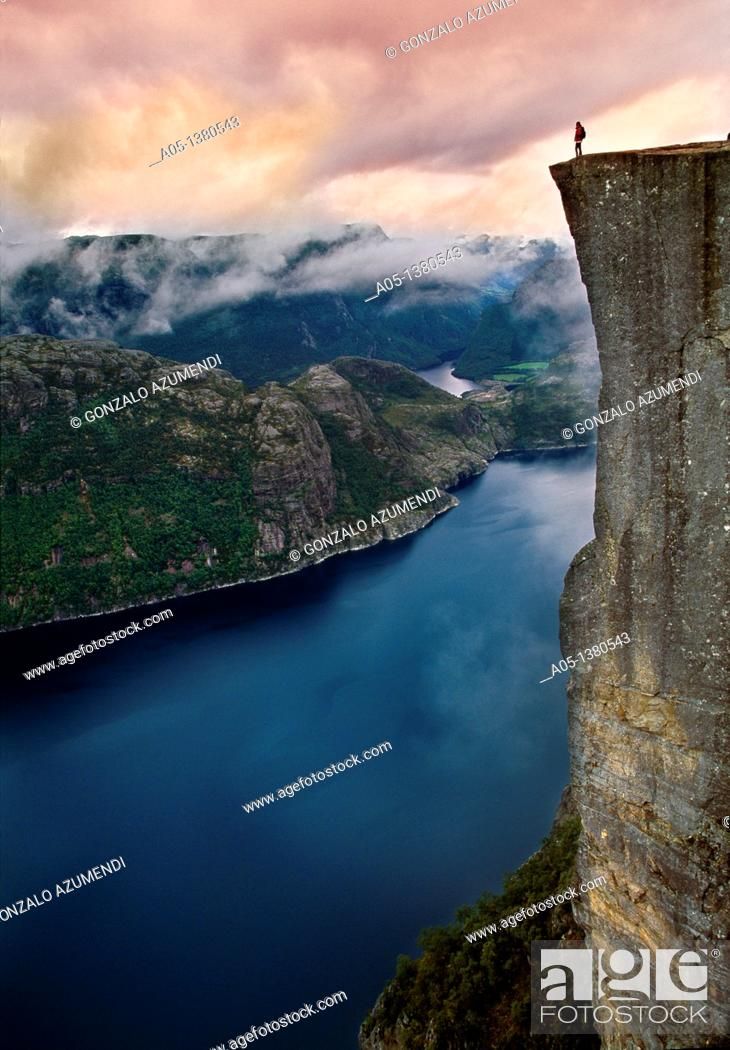 Stock Photo: Preikestolen, Pulpit Rock, 600 meters over LyseFjord, Lyse Fjord, in Ryfylke district, Rogaland Region, It is the most popular hike in Stavanger area, Norway.