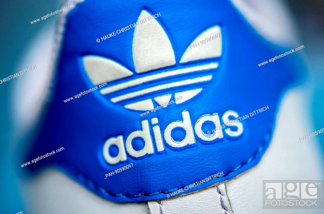 The logo of the sportswear manufacturer Adidas on a shoe in Hanover