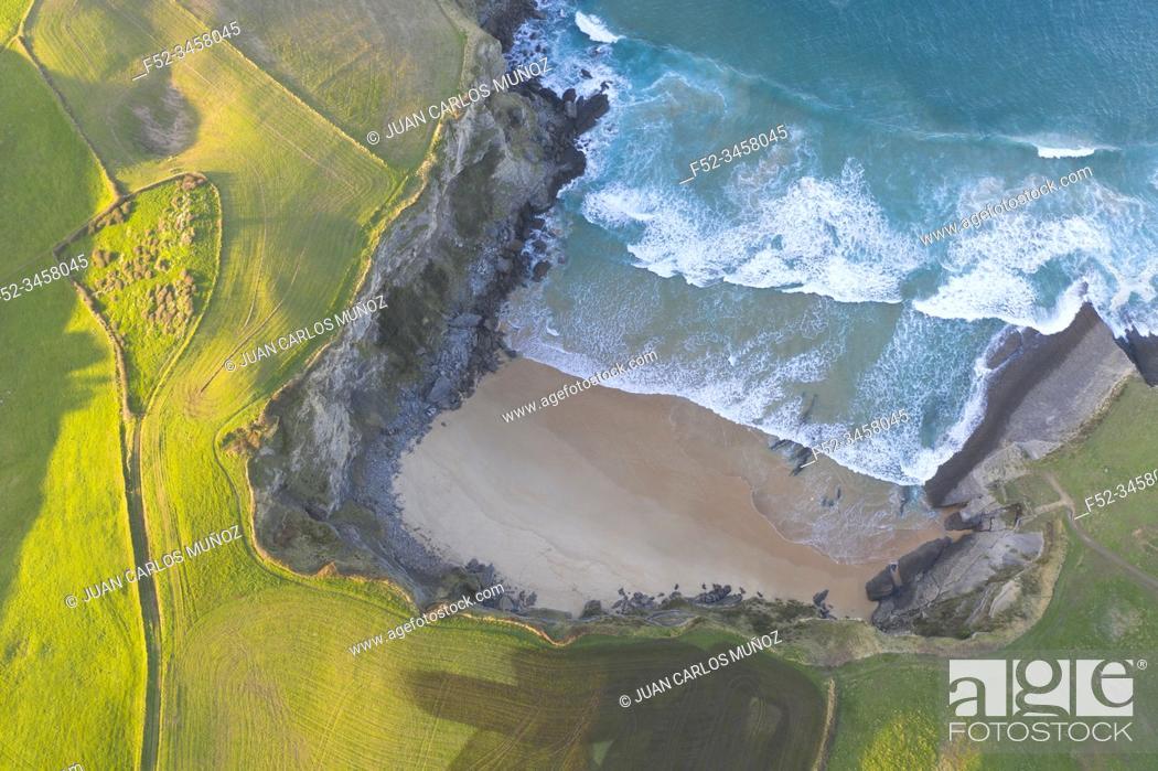 Stock Photo: Aerial view of Antuerta beach, Ajo, Bareyo Municipality, Trasmiera Coast. Cantabrian Sea, Cantabria, Spain, Europe.