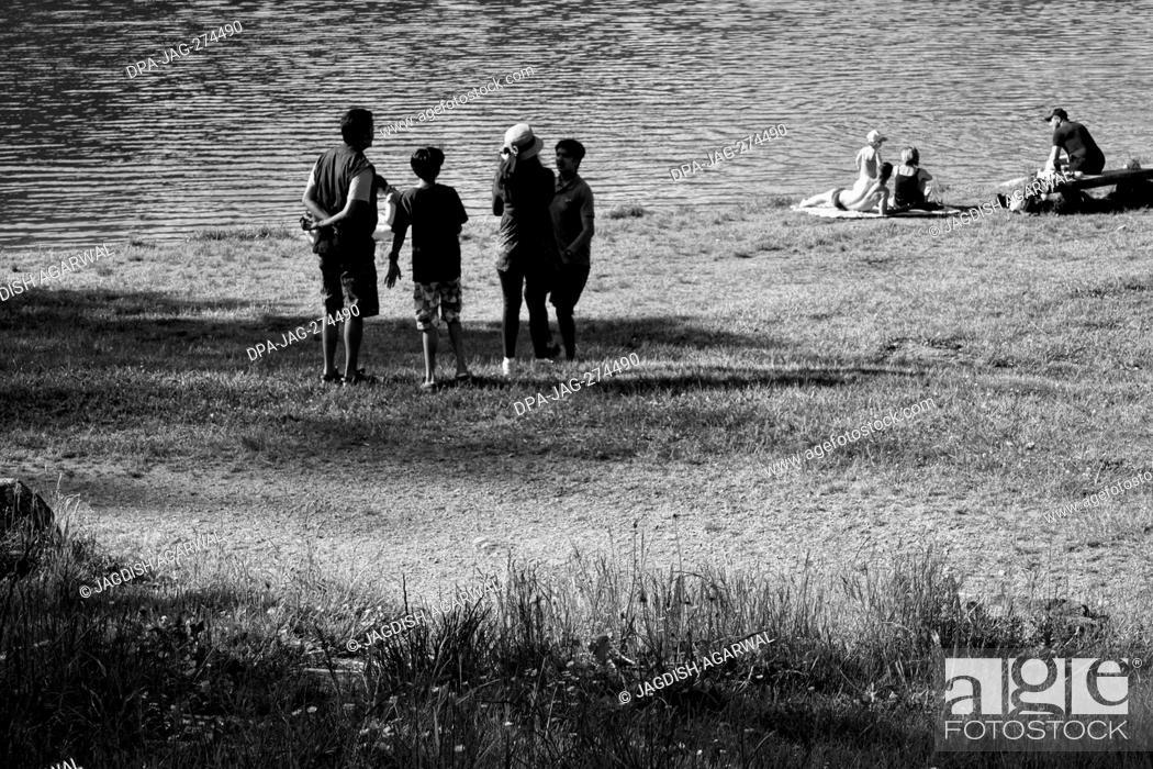 Stock Photo: Family picnic near lake, Storkensohn, Haut Rhin, Grand Est, France, Europe.