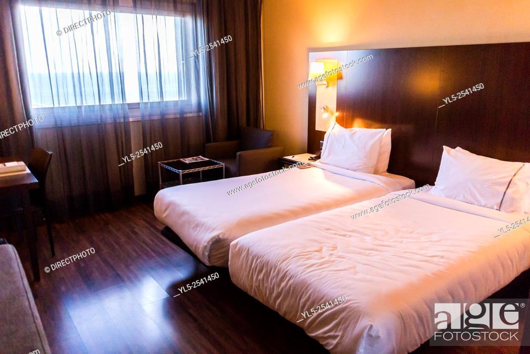 Stock Photo: Barcelona, Spain, Luxury Hotel, AC Marriott Forum. Hotel Bedroom.