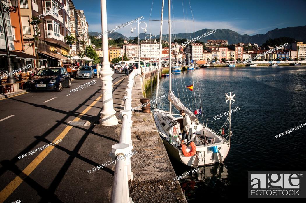 Stock Photo: Sailboat docked at the port of Ribadesella. Asturias. Spain.