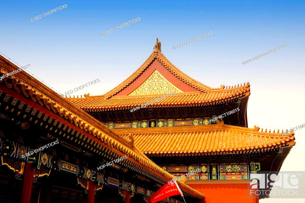 Stock Photo: Low angle view of a building, Forbidden City, Beijing, China.