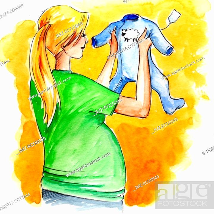 Stock Photo: A woman pregnant woman looking to buy a blue babys sleeper.