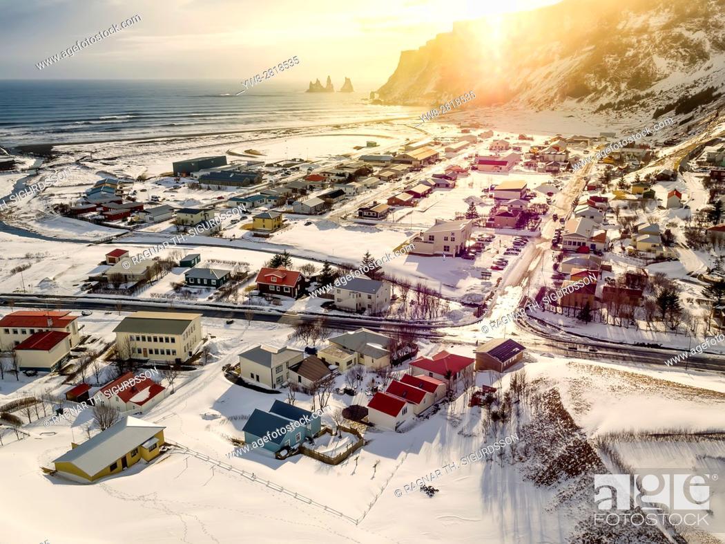 Stock Photo: Vik Myrdal, a small village on the South Coast, Iceland. Drone Photography.