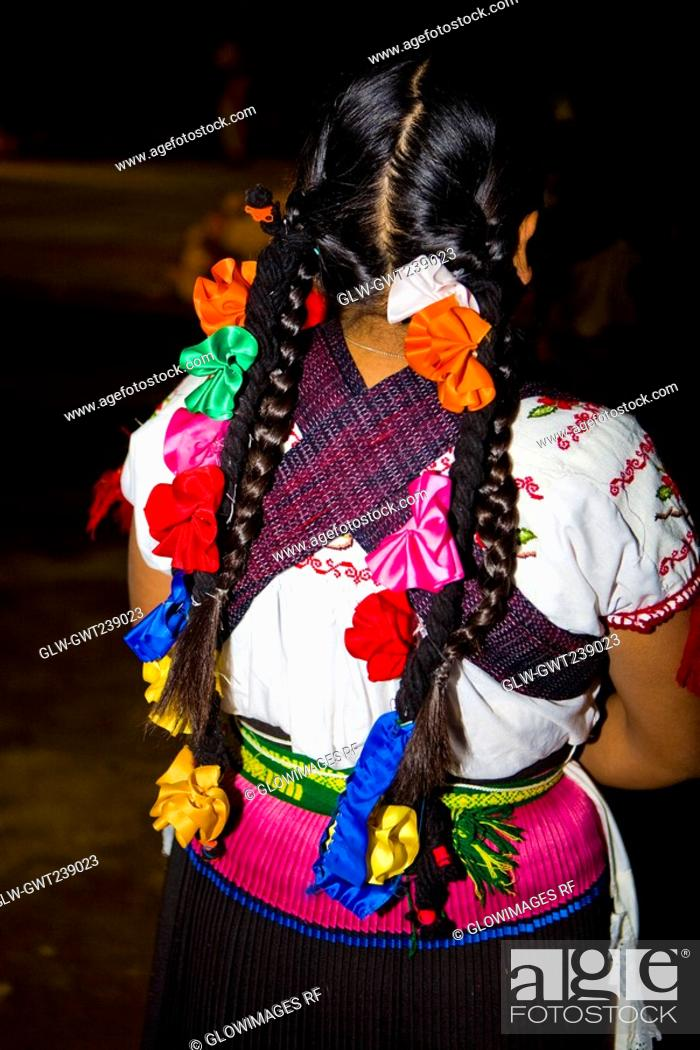 Stock Photo: Rear view of a woman in traditional clothing, Janitzio Island, Morelia, Michoacan State, Mexico.
