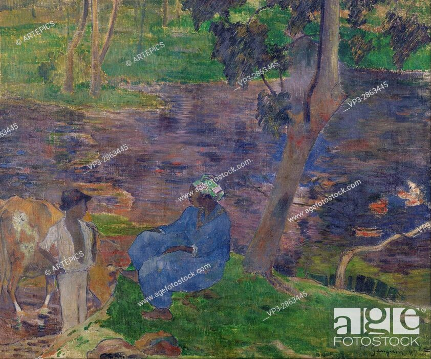 Stock Photo: Paul Gauguin - On the shore of the lake at Martinique - Van Gogh Museum, Amsterdam.