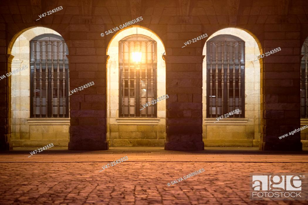 Stock Photo: Columns of the facade of the City of Santiago de Compostela, A Coruña, Galicia, Spain.