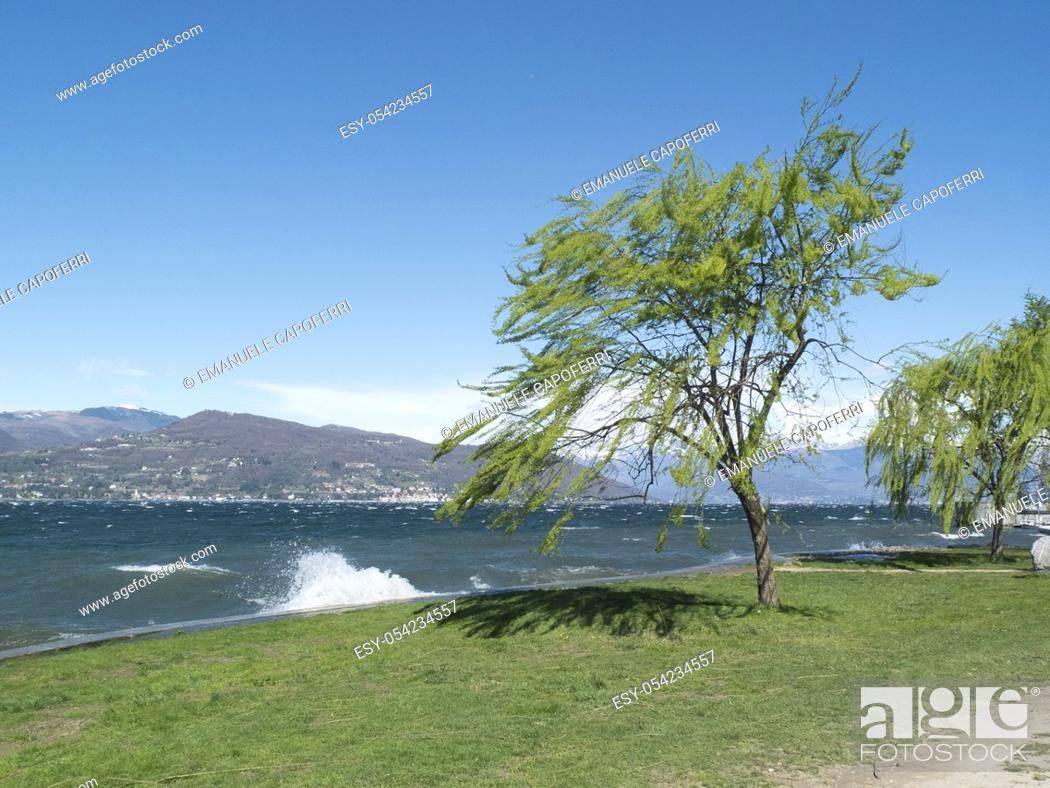 Stock Photo: Waves and strong winds on Lake Maggiore, Ispra, Varese, Lombardy, Italy.