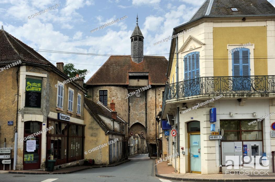 Stock Photo: Porte de l'horloge (clock's gate), Ainay-le-Chateau, Allier department, Auvergne-Rhone-Alpes region, France, Europe.