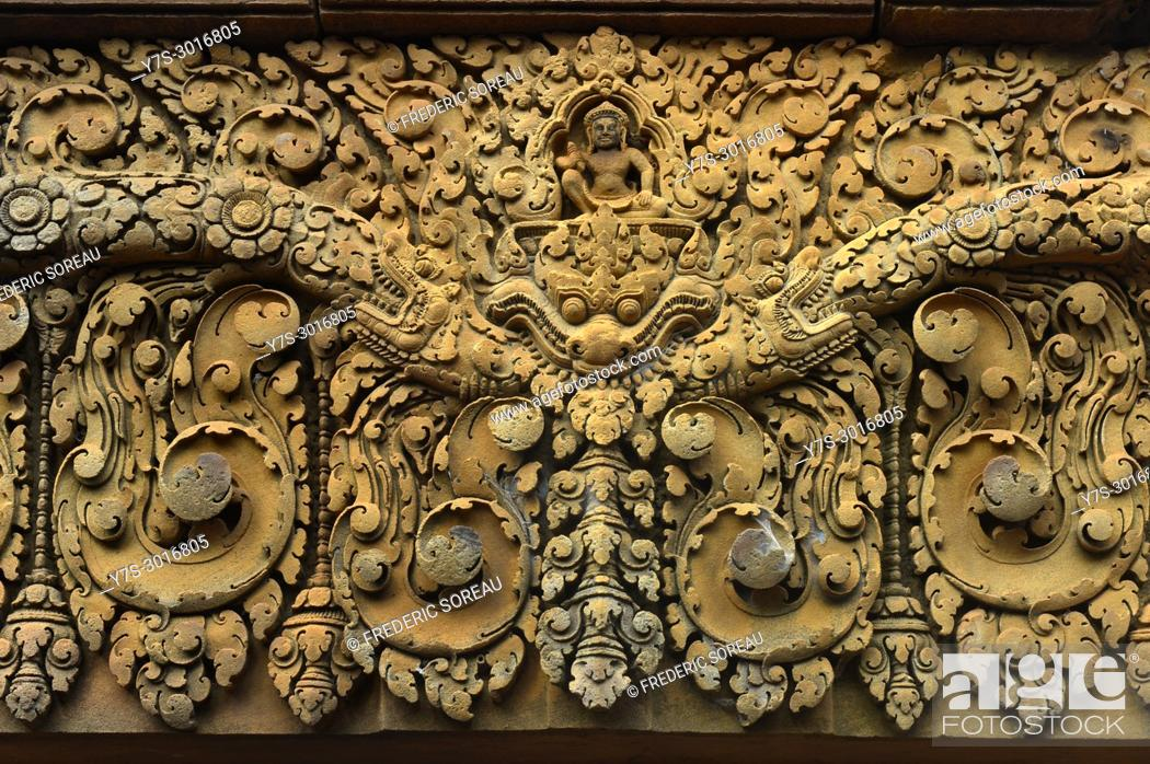 Stock Photo: Bas relief carvings at the Banteay Srei temple at Angkor Wat in Siem Reap, Cambodia, South East Asia, Asia.