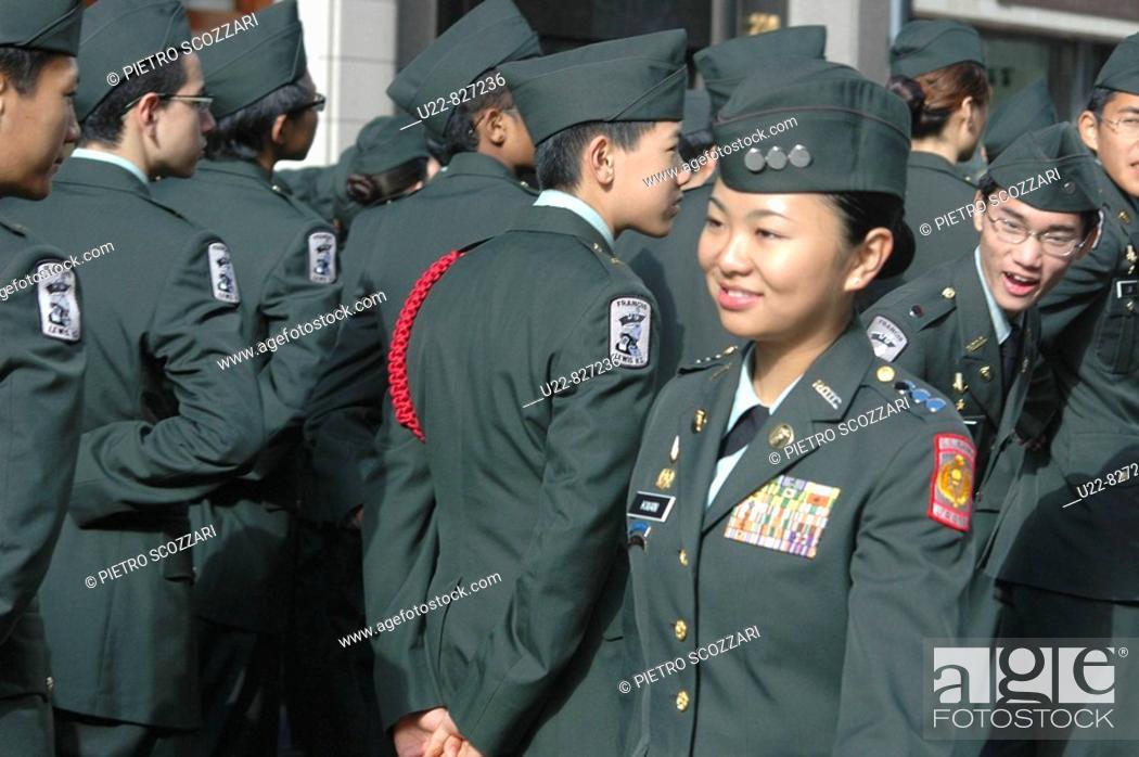 Stock Photo: New York City USA, cadets at the Veterans Day parade.