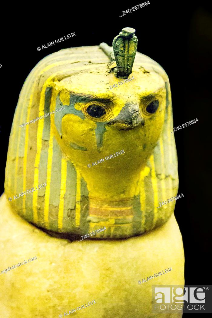 Stock Photo: Egypt, Cairo, Egyptian Museum, found in the royal necropolis of Tanis, 1 of the 4 canopic vases of the king Psusennes. The plug is a hawk head.