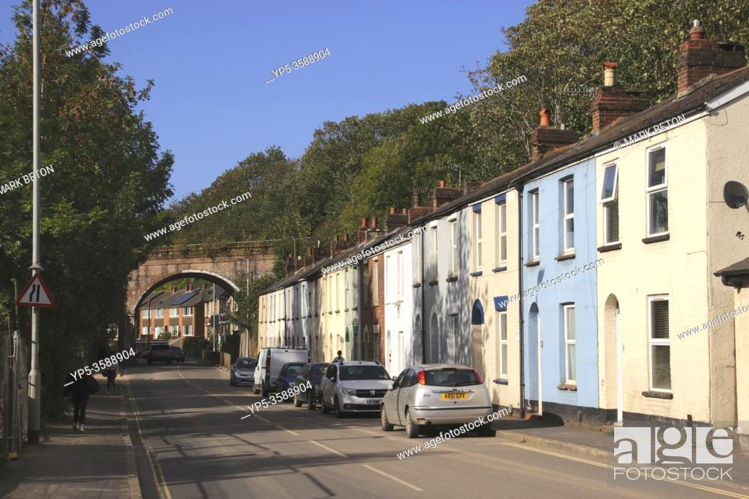 Stock Photo: Terraced houses along Bonhay Road Exeter Devon UK.