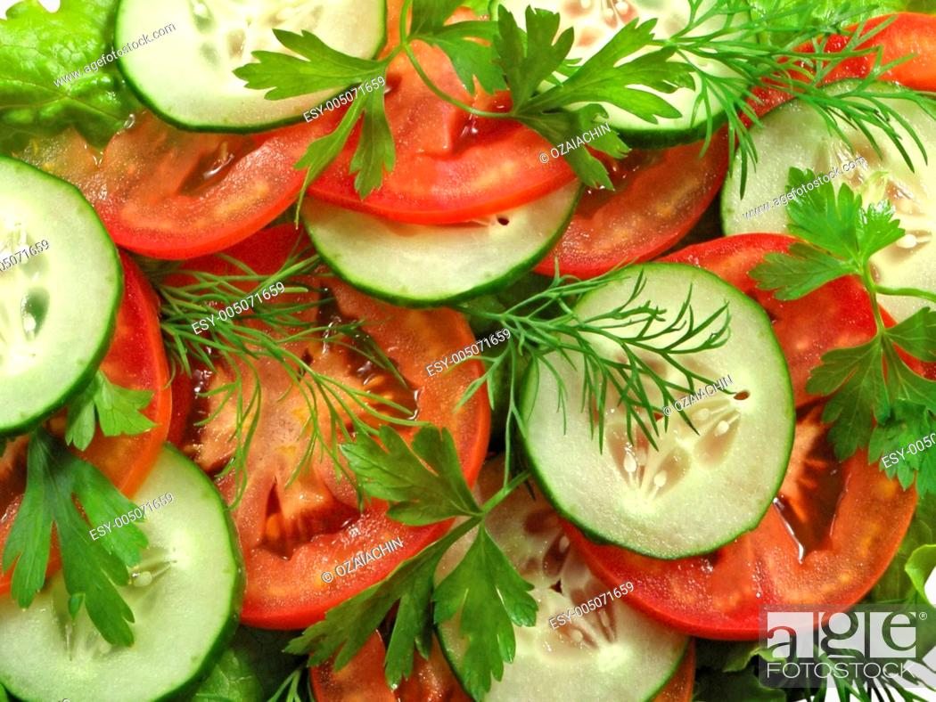 Stock Photo: Tomato salad with cucumber.