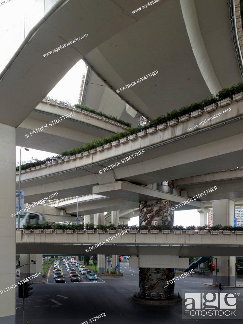 Stock Photo: Series of intersecting overpasses, Shanghai, China.