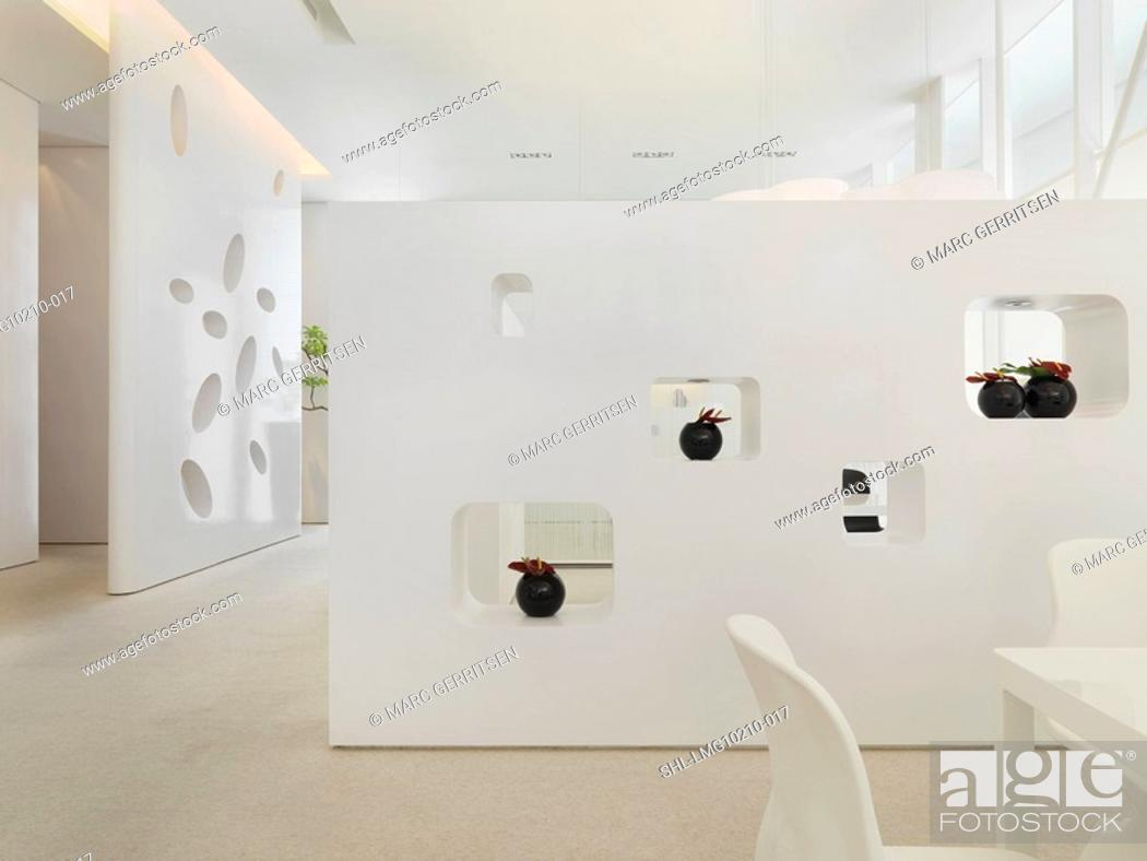 Stock Photo: White walls with cutouts in modern interior.