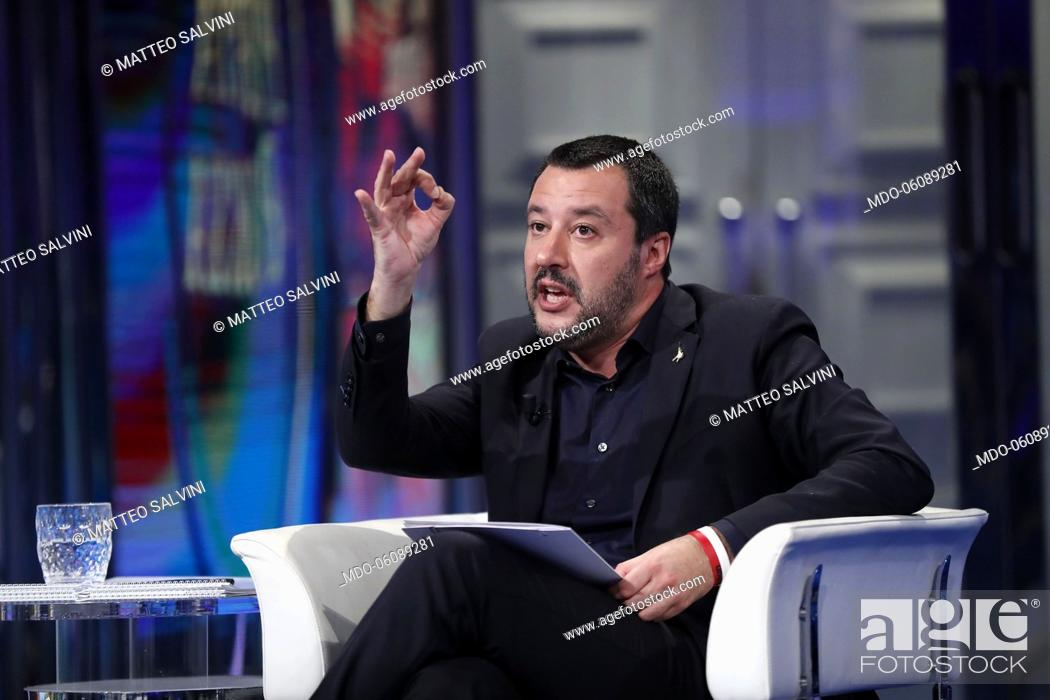 Stock Photo: Interior Minister and deputy premier Matteo Salvini guest in the TV show 'Porta a Porta'. In the picture Matteo Salvini. Rome, November 29th, 2018.