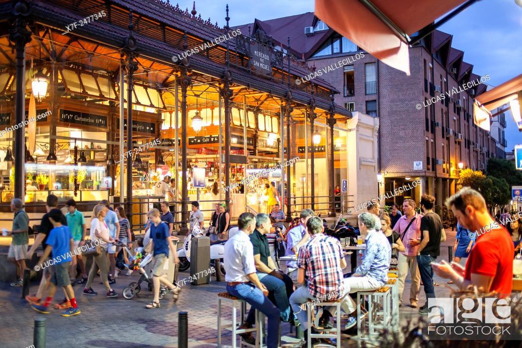 Stock Photo: Street scene in Plaza de San Miguel, San Miguel market. Madrid. Spain.